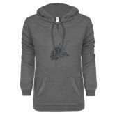 ENZA Ladies Dark Heather V-Notch Raw Edge Fleece Hoodie-Viking Head Silver Soft Glitter
