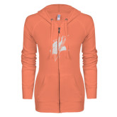 ENZA Ladies Coral Light Weight Fleece Full Zip Hoodie-Viking Head White Soft Glitter