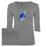 Ladies Grey Heather Tri Blend Lace 3/4 Sleeve Tee-Viking Head