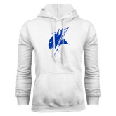 White Fleece Hoodie-Viking Head