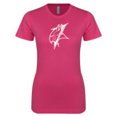 Ladies SoftStyle Junior Fitted Fuchsia Tee-Viking Head