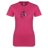 Ladies SoftStyle Junior Fitted Fuchsia Tee-Viking Head Foil