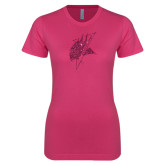 Ladies SoftStyle Junior Fitted Fuchsia Tee-Viking Head Hot Pink Glitter