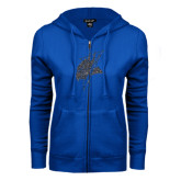 ENZA Ladies Royal Fleece Full Zip Hoodie-Viking Head Graphite Glitter