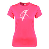 Ladies Performance Hot Pink Tee-Viking Head