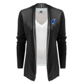Ladies Black Open Front Cardigan-Viking Head