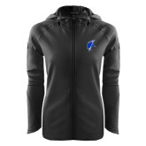 Ladies Tech Fleece Full Zip Black Hooded Jacket-Viking Head