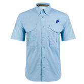 Light Blue Short Sleeve Performance Fishing Shirt-Viking Head