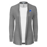 Ladies Heather Grey Open Front Cardigan-Viking Head