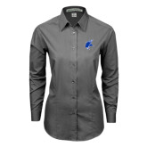 Ladies Grey Tonal Pattern Long Sleeve Shirt-Viking Head