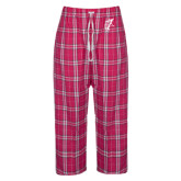Ladies Dark Fuchsia/White Flannel Pajama Pant-Viking Head