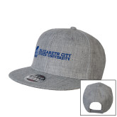 Heather Grey Wool Blend Flat Bill Snapback Hat-ECSU