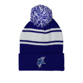 Royal/White Two Tone Knit Pom Beanie with Cuff-Viking Head
