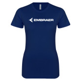 Next Level Ladies SoftStyle Junior Fitted Navy Tee-Embraer