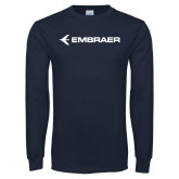 Navy Long Sleeve T Shirt-Embraer