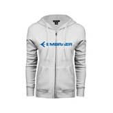 ENZA Ladies White Fleece Full Zip Hoodie-Embraer
