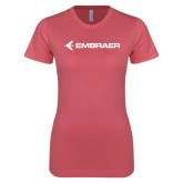 Next Level Ladies SoftStyle Junior Fitted Pink Tee-Embraer