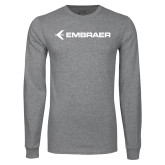 Grey Long Sleeve T-Shirt-Embraer