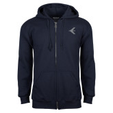 Navy Fleece Full Zip Hoodie-Embraer Bird