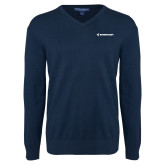 Classic Mens V Neck Navy Sweater-