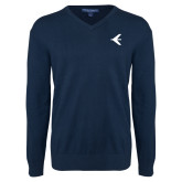 Classic Mens V Neck Navy Sweater-Embraer Bird