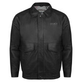 Black Leather Bomber Jacket-Legacy By Embraer