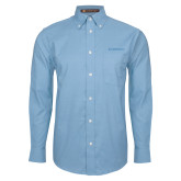 Mens Light Blue Oxford Long Sleeve Shirt-Embraer