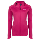 Ladies Tech Fleece Full Zip Hot Pink Hooded Jacket-Lineage By Embraer