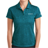 Ladies Nike Dri Fit Teal Crosshatch Polo-Embraer