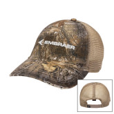Realtree Xtra Black/Khaki Mesh Back Unstructured Hat-Embraer