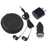 3 in 1 Black Audio Travel Kit-Legacy By Embraer