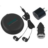 3 in 1 Black Audio Travel Kit-Lineage By Embraer