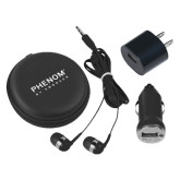 3 in 1 Black Audio Travel Kit-Phenom By Embraer