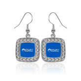 Crystal Studded Square Pendant Silver Dangle Earrings-Institutional Logos