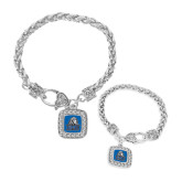 Silver Braided Rope Bracelet With Crystal Studded Square Pendant-EMU w/ Lion Head