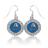 Crystal Studded Round Pendant Silver Dangle Earrings-EMU w/ Lion Head