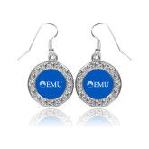 Crystal Studded Round Pendant Silver Dangle Earrings-Institutional Logos