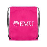 Pink Drawstring Backpack-Institutional Logos
