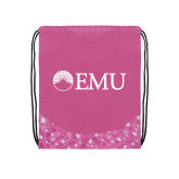 Nylon Pink Bubble Patterned Drawstring Backpack-Institutional Logos