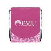 Nylon Zebra Pink/White Patterned Drawstring Backpack-Institutional Logos