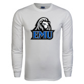 White Long Sleeve T Shirt-EMU w/ Lion Head