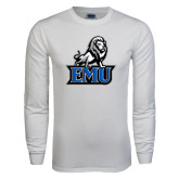 White Long Sleeve T Shirt-EMU w/ Full Lion