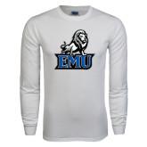 White Long Sleeve T Shirt-EMU w/ Full Lion