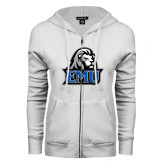 ENZA Ladies White Fleece Full Zip Hoodie-EMU w/ Lion Head