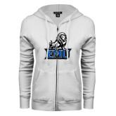 ENZA Ladies White Fleece Full Zip Hoodie-EMU w/ Full Lion