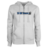 ENZA Ladies White Fleece Full Zip Hoodie-Institutional Logos