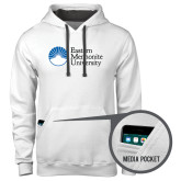 Contemporary Sofspun White Hoodie-University Logo