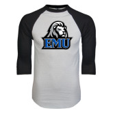 White/Black Raglan Baseball T-Shirt-EMU w/ Lion Head