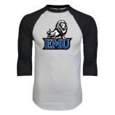 White/Black Raglan Baseball T-Shirt-EMU w/ Full Lion