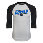 White/Black Raglan Baseball T-Shirt-Royals Slanted w/ Logo